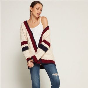 J.O.A. Varsity Stripe Cable Knit Sweater Sz M